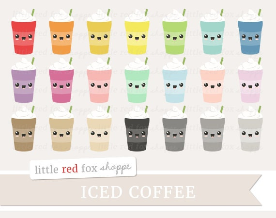 Kawaii Iced Coffee Clipart Frappe Clip Art Ice Coffee Latte
