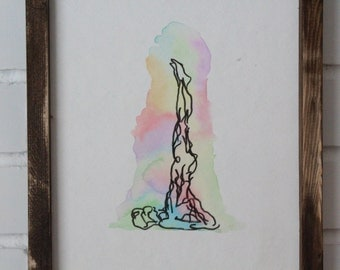 Watercolor Shoulder Stance Yoga Pose Art