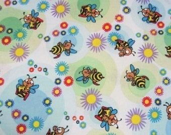 Bees and Flowers 100% cotton FQ Fat Quarter 1/2 Half Full Metre