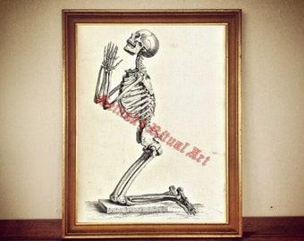 Praying skeleton, occult print, skull poster, victorian macabre, halloween decor, demonic skull art, bizarre home decor #446
