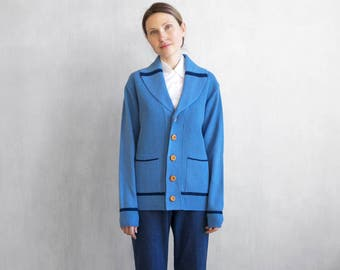 On Sale Periwinkle blue cardigan wigh stripes accent / 70s prep blue cardigan with wood buttons