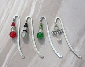Christmas Bookmark, beaded bookmark, santa bookmark, angel bookmark, elf bookmark, snowman bookmark, stocking filler