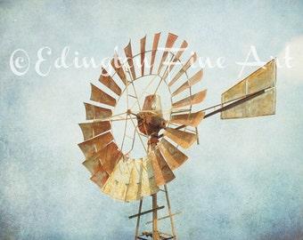 Windmill photo, Aermotor Windmill, rustic art, rural art, home decor, landscape photo, blue, gold, country decor, farmhouse,