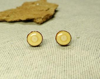 Wooden earrings 9-11 mm, studs, hypoallergenic, wood post earrings, stud earrings, natural wood studs (033)