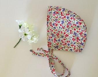 Cotton Baby Bonnet - Floral Print - Baby Bonnet - Baby Hat - Baby Girl Bonnet