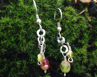 Handcrafted Sterling Silver Hammered Link Chain Earrings
