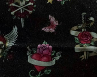 Skulls hearts and roses FABRIC piece