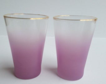Pair of Lavender with Gold Rim Blendo Juice Sized Glasses