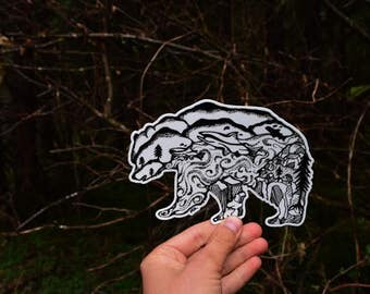 "Kodiak Bear & Salmon Sticker  6"" Weatherproof and durable, Outdoor sticker, Wildlife sticker, Wanderlust, Alaska sticker Mountains"