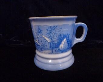 The Farmer's Home Winter Currier and Ives Mug, Heavy Porcelain Blue White Mug, Americana Art Mug / Cup Gold Gilt, Winter Scene Blue White