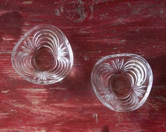 Set 2 Small svuotasche, couple door-clear glass saucers couple rings