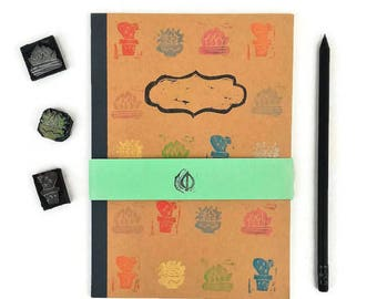 Cactus journal hand stamped notebook kraft paper, lines A5 diary, gift for teacher, nature stationery, succulent print notes, eco-friendly