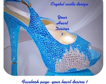 Disney wedding shoes Swarovski crystal look Disney castle wedding shoes bride prom shoes