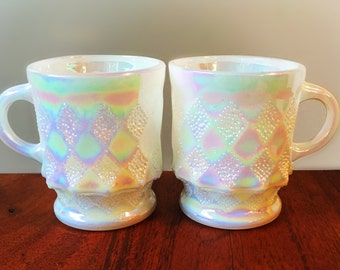 Pair of Fire King Aurora Borealis Kimberly Mugs - Pearl Lustre Diamond - Never Used Mint Condition, Anchor Hocking 1970s Mid Century Kitchen