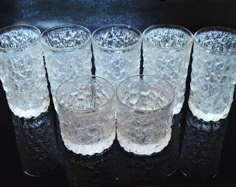 Goebel Ice Bark Barware, 5 tumblers and 2 rocks glasses, Mid Century Modern Scandinavian Style Tree Textured