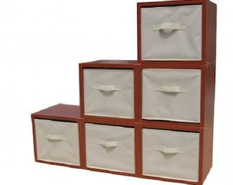 Fixture Displays® Storage, Modular Wood Blocks with Fabric Bins 6/Set 11364