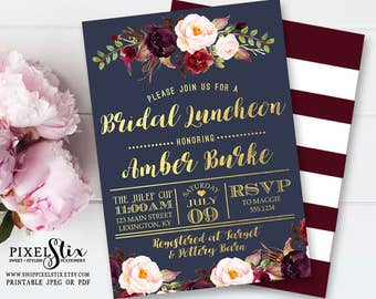 Navy Blue Floral Bridal Luncheon Invitation, Gold Foil with Vintage Watercolor Flowers, Wedding Luncheon Invite, Bridal Brunch, Bridesmaids