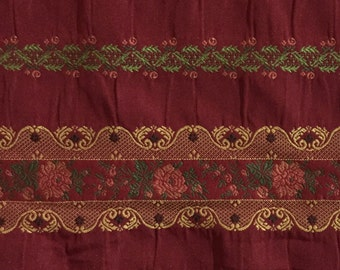 French Lacey Embroidery Fabric - Raspberry, Green, and Gold - Upholstery Fabric By The Yard