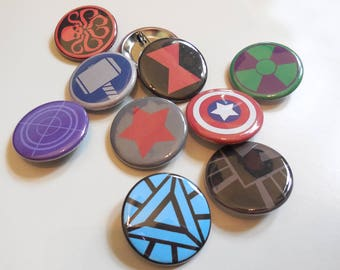 Avengers Marvel Pin Back Buttons Badges