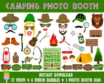 PRINTABLE Camping Photo Booth Props–Photo Booth Sign-Camper Props-Camper Photo Booth-Camping Party Props-Scout Photo Props-Instant Download