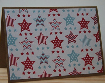6 Patriotic Note Cards. Star Cards Set. Memorial Day Cards. 4th of July Cards. Veteran's Day Cards.  Handmade Greeting Cards