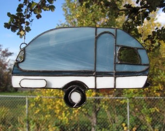 Stained Glass Trailer Suncatcher, Blue/gray and white Travel Trailer, Camper, Canned Ham