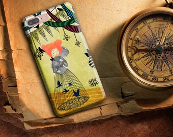 Art Phone Case, Whimsical Phone case, iPhone 6/6s/6 Plus/6s Plus/5s, LG Phone,  Red haired girl, birds and bird cage