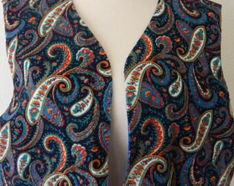 Vtg Handmade Vest Multi-Color Corduroy Paisley Pockets Lined Open Front (R2-156)