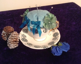 Gorgeous teacup pin cushion in art deco style cup and saucer