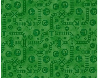 Thomas The Train Fabric Yardage - Fast Friends Thomas Green Tonal Tracks - Licensed Fabric Sold By the Half Yard