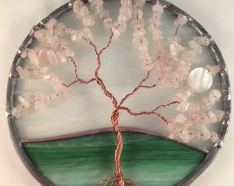 Rose Quartz tree of life suncatcher