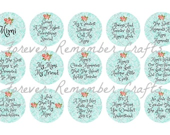INSTANT DOWNLOAD Mimi Quotes & Sayings  1 Inch Bottle Cap Image Sheets *Digital Image* 4x6 Sheet With 15 Images