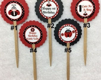 Set Of 12 Personalized Lady Bug 1st Birthday Party Cupcake Toppers (Your Choice Of Any 12)