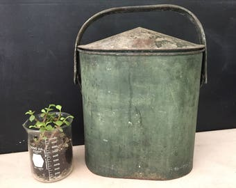 Metal Industrial Container with Lid - Vintage Metal Bin with Swing Handle - Oval Container - Farmhouse - Prop - Display