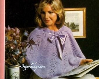 Vintage pretty shoulder-wrap Shrug knitting pattern in instant download version