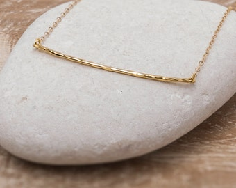 Gold Bar Necklace/Gold Necklace/Hammered Bar Necklace/Gold Hammered bar necklace