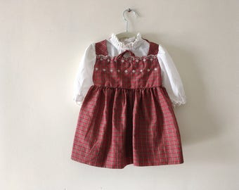 Adorable Vintage Plaid Dress with Embroidery - Size 3 (3T)
