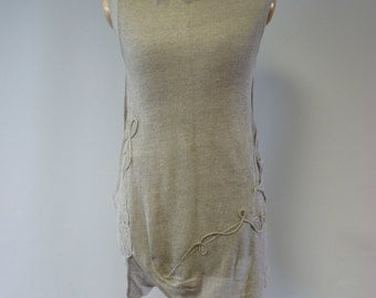 Delicate amazing transparent knitted natural linen top, M size. Perfect for Summer.