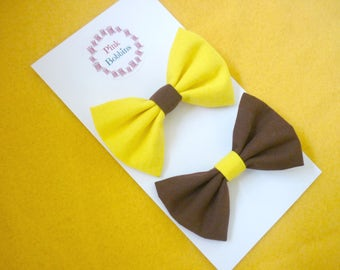Brownies hair bows - pair of Brownie Guide bows - midi size fabric bows on alligator clips - yellow & brown bows - girlguiding bows