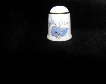Vintage Thimble from W Germany Reutter blue flower Collectors item Thimble Collector W Germany Reutter blue flower