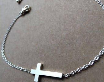 Sideways Cross Bracelet, Cross Bracelet, Silver Coss Bracelet, Silver Charm Bracelet, Dainty Bracelet, Birthday Gift