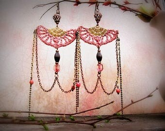 Roseraie -Tender old pink crochet earrings, art deco, gift for her, long earrings