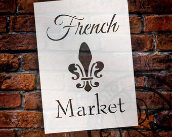 French Market - Word Art Stencil - Select Size - STCL1476 - by StudioR12