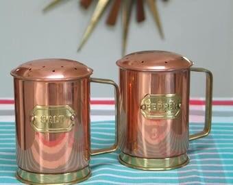 Vintage Oversized Solid Copper Salt and Pepper Shakers
