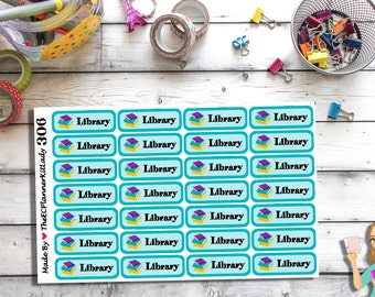 306 - (28 - Library Stickers) -- Planner Stickers, Library, Books Due, Reminder, Stickers, ECLP, Filofax, Plum Paper Planner