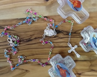 Rosay,Thin glass beads hand made Holy Land metal cross rosary from Jerusalem