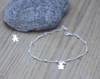 925 sterling silver bracelet with 1 little girl or little boy charm - silver bracelet - bracelet charm - birthstone bracelet