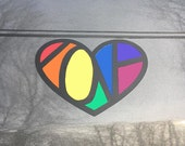 LGBT Love Hidden Message Vinyl Car Decal - Gay Pride Sticker - LGBT Sticker - Rainbow Heart Decal - Rainbow Decal - Rainbow Bumper Sticker