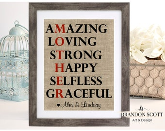 Mother Amazing Loving Strong Happy Selfless Graceful, Mothers Day Gift, Mother Gift, Mom Gift Gift for Mom Wedding Gift, Mother of the Bride