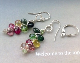 Watermelon Tourmaline Earrings, October birthstone,ear wires,lever backs,sterling silver, gold filled,gift for her,gift for wife,anniversary